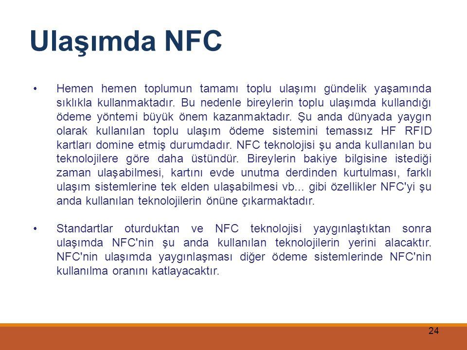 24 Ulaşımda NFC Hemen hemen toplumun tamamı toplu ulaşımı gündelik yaşamında sıklıkla kullanmaktadır. Bu nedenle bireylerin toplu ulaşımda kullandığı