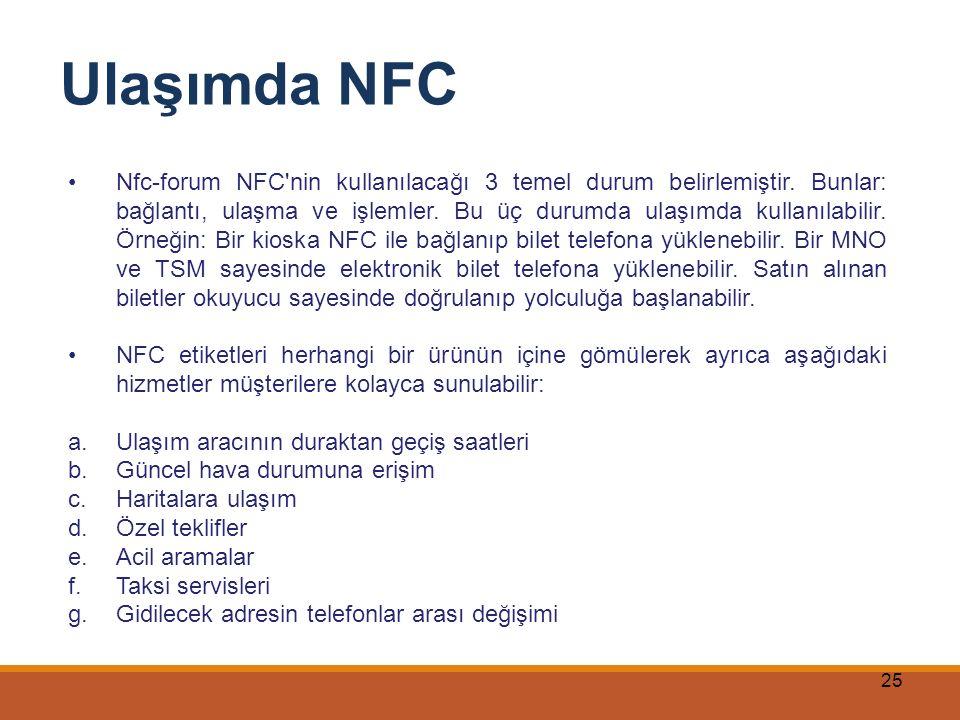 25 Ulaşımda NFC Nfc-forum NFC'nin kullanılacağı 3 temel durum belirlemiştir. Bunlar: bağlantı, ulaşma ve işlemler. Bu üç durumda ulaşımda kullanılabil