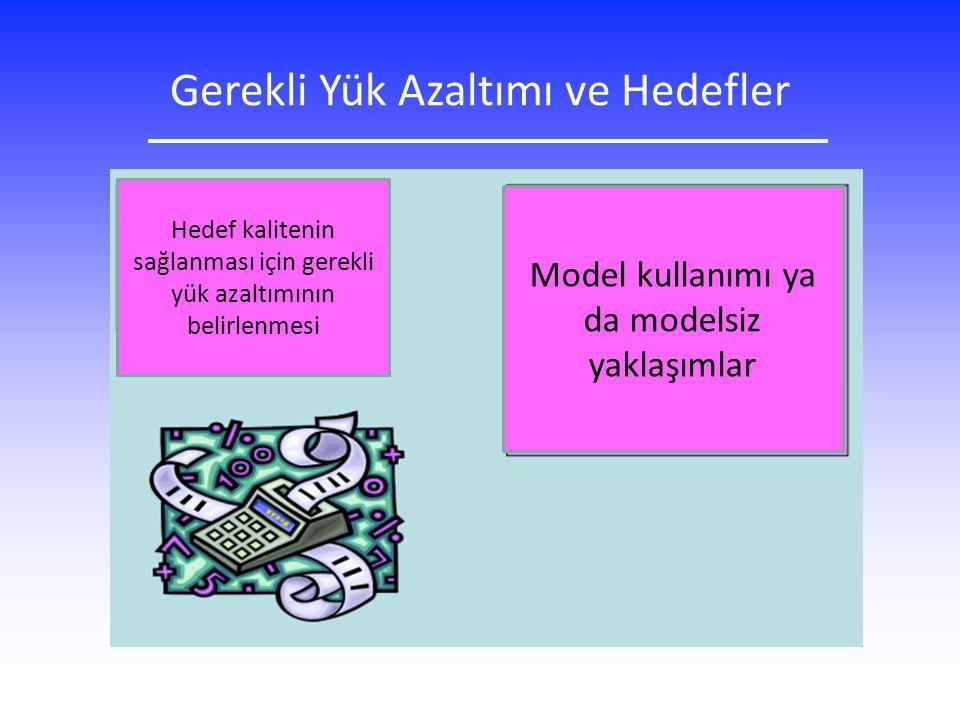 Gerekli Yük Azaltımı ve Hedefler Model kullanımı ya da modelsiz yaklaşımlar Hedef kalitenin sağlanması için gerekli yük azaltımının belirlenmesi