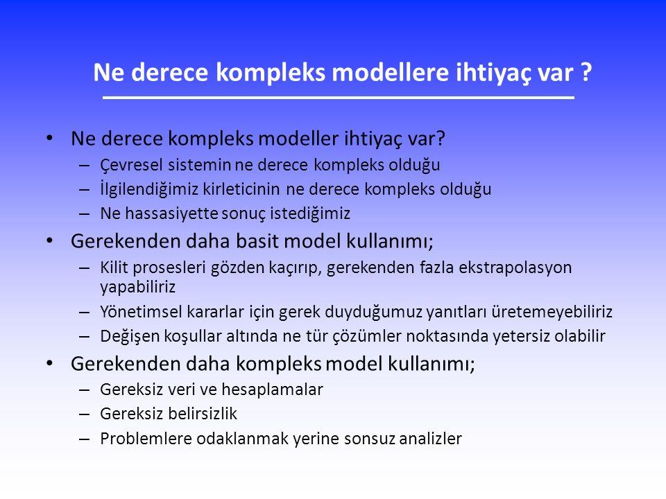 Ne derece kompleks modellere ihtiyaç var ? Ne derece kompleks modeller ihtiyaç var? – Çevresel sistemin ne derece kompleks olduğu – İlgilendiğimiz kir