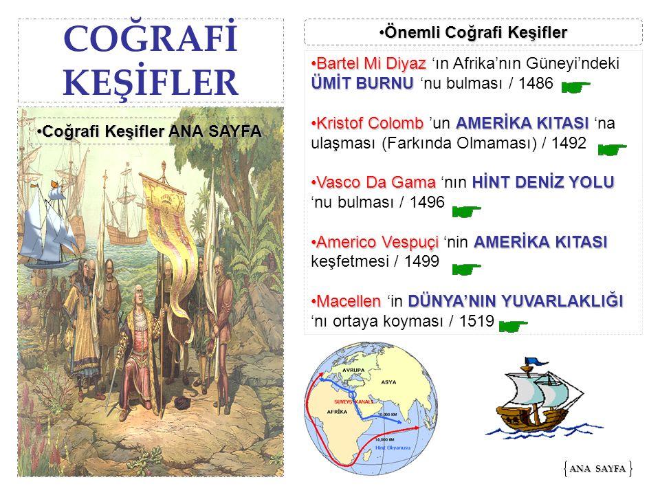 COĞRAFİ KEŞİFLER Bartel Mi Diyaz ÜMİT BURNUBartel Mi Diyaz 'ın Afrika'nın Güneyi'ndeki ÜMİT BURNU 'nu bulması / 1486 Kristof ColombAMERİKA KITASIKrist