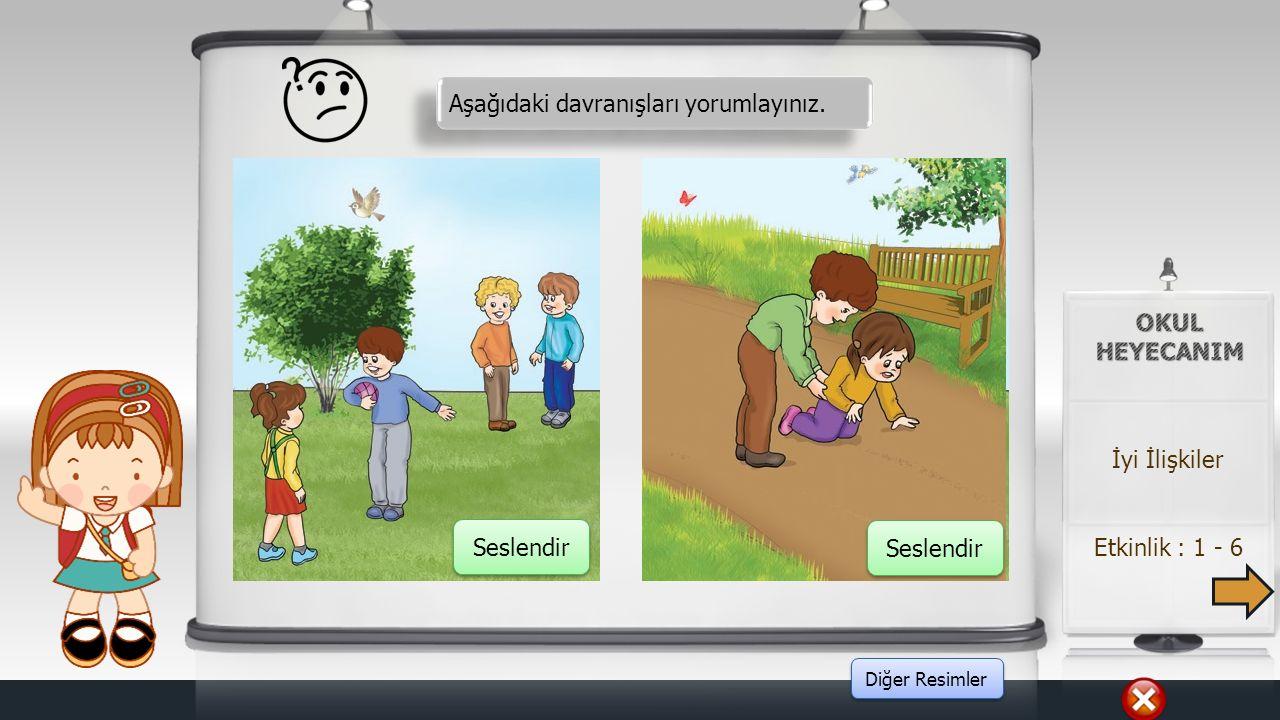 Örnek : 3 - 3 Yönerge : Resimdeki çocukların davranışları üzerinden arkadaşlık ilişkileri sorgulanır. İyi İlişkiler Konuştur Elat, İnorm, Elat, İnorm,