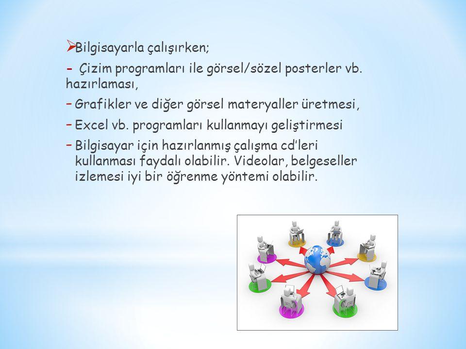  Bilgisayarla çalışırken; - Çizim programları ile görsel/sözel posterler vb. hazırlaması, - Grafikler ve diğer görsel materyaller üretmesi, - Excel v