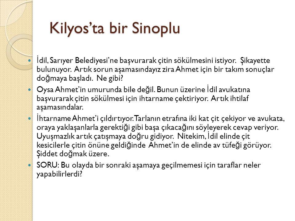 Kilyos'ta bir Sinoplu İ dil, Sarıyer Belediyesi'ne başvurarak çitin sökülmesini istiyor. Şikayette bulunuyor. Artık sorun aşamasındayız zira Ahmet içi