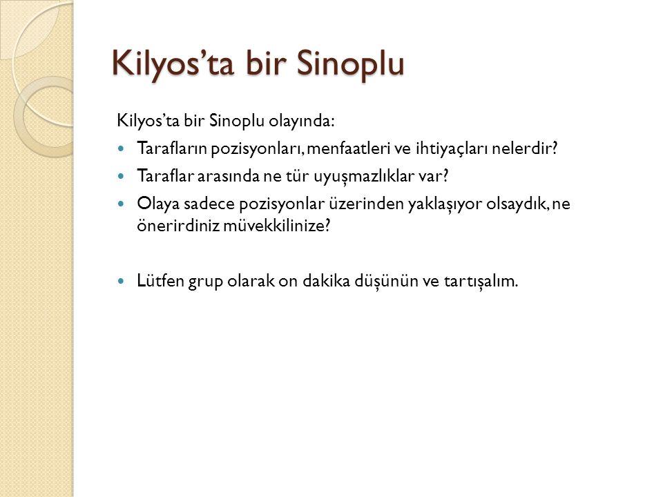 Kilyos'ta bir Sinoplu Kilyos'ta bir Sinoplu olayında: Tarafların pozisyonları, menfaatleri ve ihtiyaçları nelerdir? Taraflar arasında ne tür uyuşmazlı