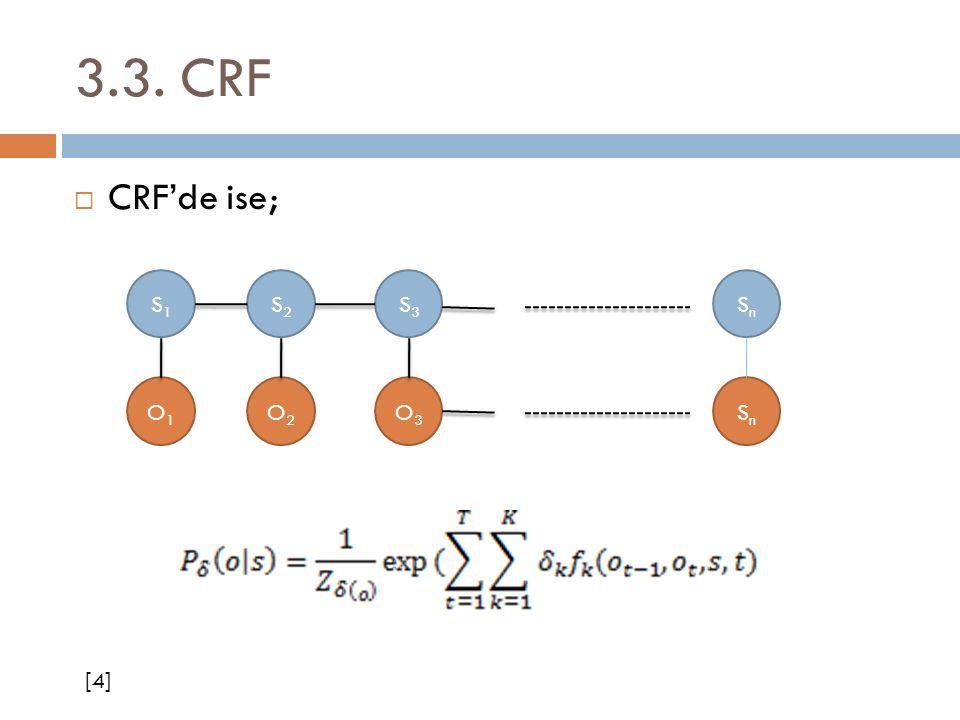 3.3. CRF  CRF'de ise; S1S1 S2S2 S3S3 SnSn O1O1 O2O2 O3O3 SnSn [4]