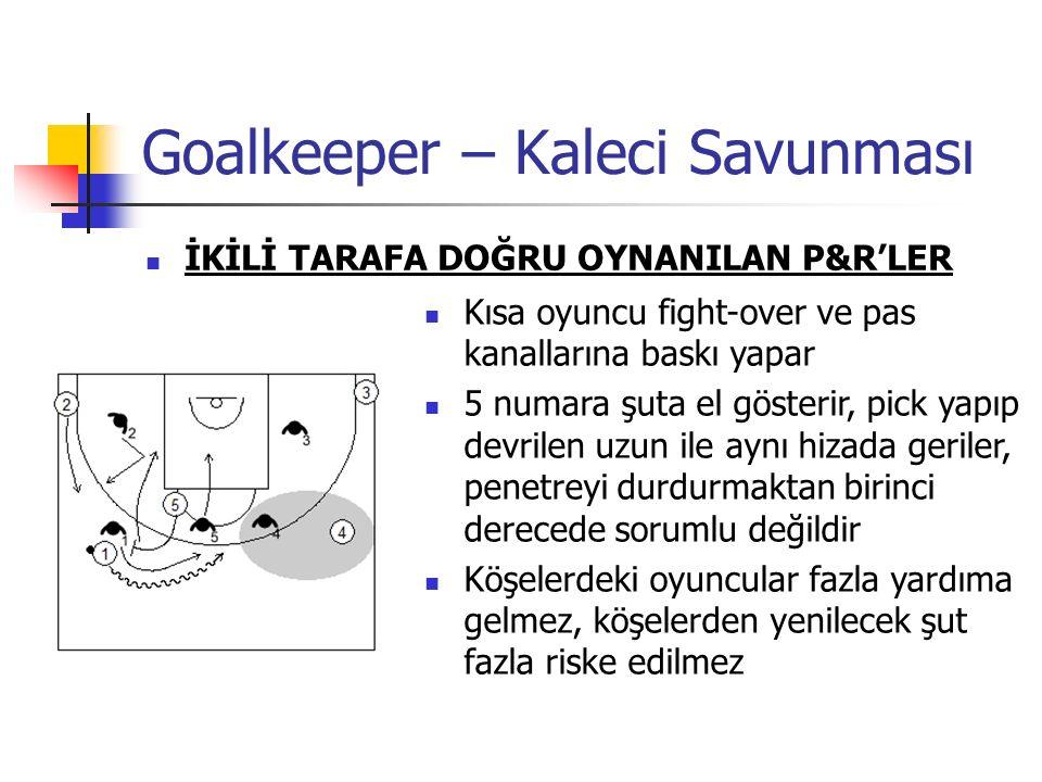 Goalkeeper – Kaleci Savunması İKİLİ TARAFA DOĞRU OYNANILAN P&R'LER Kısa oyuncu fight-over ve pas kanallarına baskı yapar 5 numara şuta el gösterir, pick yapıp devrilen uzun ile aynı hizada geriler, penetreyi durdurmaktan birinci derecede sorumlu değildir Köşelerdeki oyuncular fazla yardıma gelmez, köşelerden yenilecek şut fazla riske edilmez