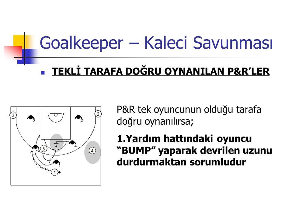 Goalkeeper – Kaleci Savunması TEKLİ TARAFA DOĞRU OYNANILAN P&R'LER P&R tek oyuncunun olduğu tarafa doğru oynanılırsa; 1.Yardım hattındaki oyuncu BUMP yaparak devrilen uzunu durdurmaktan sorumludur