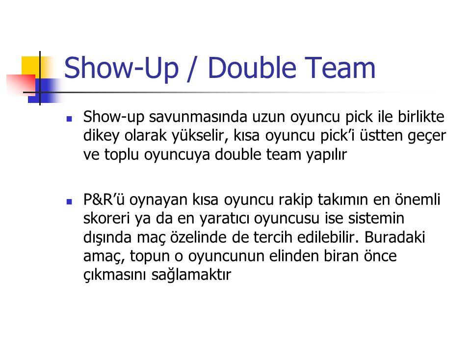 Show-Up / Double Team Show-up savunmasında uzun oyuncu pick ile birlikte dikey olarak yükselir, kısa oyuncu pick'i üstten geçer ve toplu oyuncuya double team yapılır P&R'ü oynayan kısa oyuncu rakip takımın en önemli skoreri ya da en yaratıcı oyuncusu ise sistemin dışında maç özelinde de tercih edilebilir.