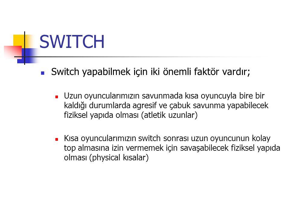 SWITCH Switch yapabilmek için iki önemli faktör vardır; Uzun oyuncularımızın savunmada kısa oyuncuyla bire bir kaldığı durumlarda agresif ve çabuk savunma yapabilecek fiziksel yapıda olması (atletik uzunlar) Kısa oyuncularımızın switch sonrası uzun oyuncunun kolay top almasına izin vermemek için savaşabilecek fiziksel yapıda olması (physical kısalar)