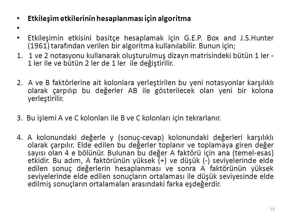 Etkileşim etkilerinin hesaplanması için algoritma Etkileşimin etkisini basitçe hesaplamak için G.E.P.