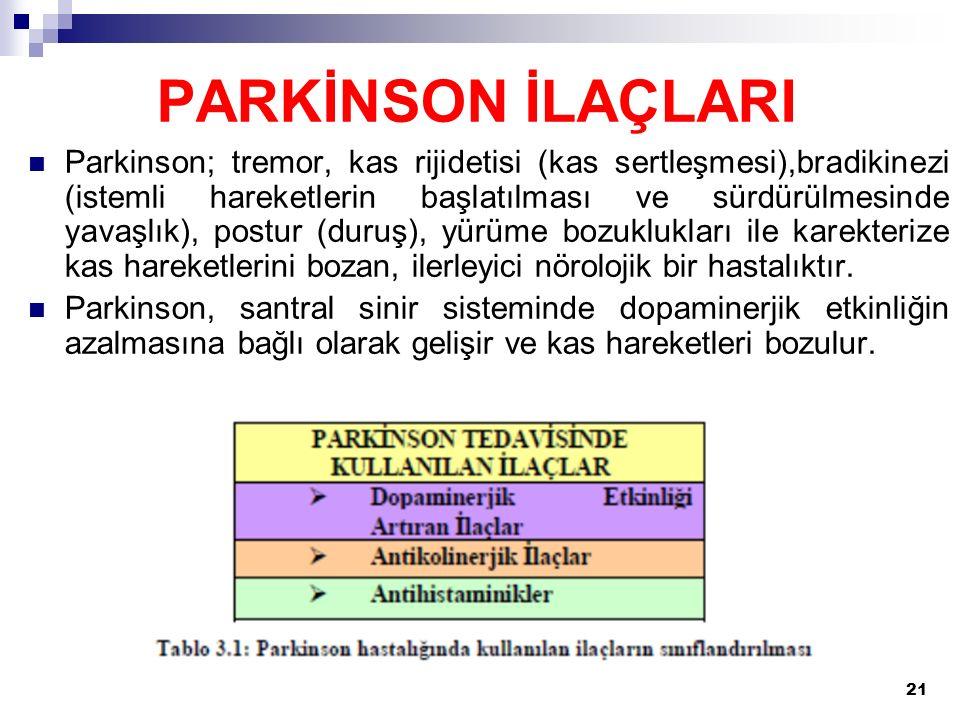 21 Parkinson; tremor, kas rijidetisi (kas sertleşmesi),bradikinezi (istemli hareketlerin başlatılması ve sürdürülmesinde yavaşlık), postur (duruş), yü