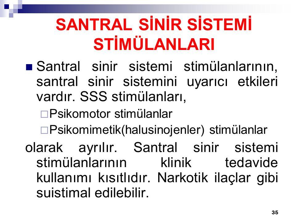 35 Santral sinir sistemi stimülanlarının, santral sinir sistemini uyarıcı etkileri vardır. SSS stimülanları,  Psikomotor stimülanlar  Psikomimetik(h