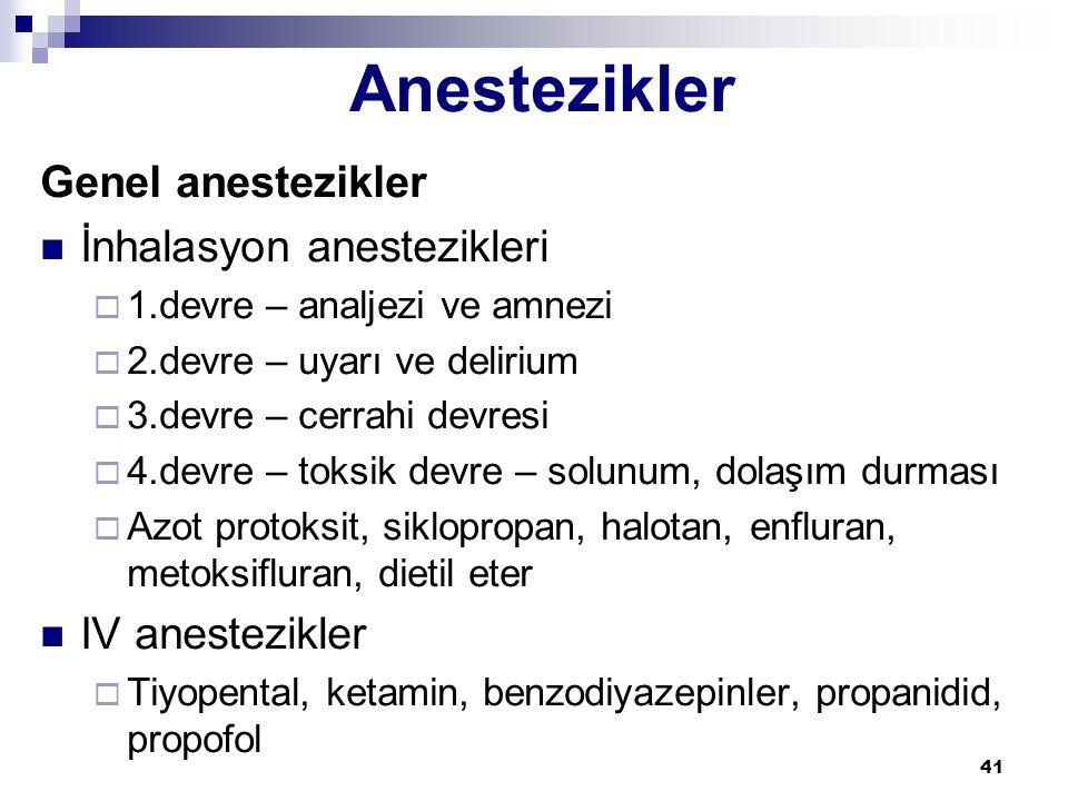 41 Genel anestezikler İnhalasyon anestezikleri  1.devre – analjezi ve amnezi  2.devre – uyarı ve delirium  3.devre – cerrahi devresi  4.devre – to