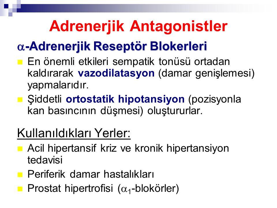 Adrenerjik Antagonistler  -Adrenerjik Reseptör Blokerleri En önemli etkileri sempatik tonüsü ortadan kaldırarak vazodilatasyon (damar genişlemesi) ya
