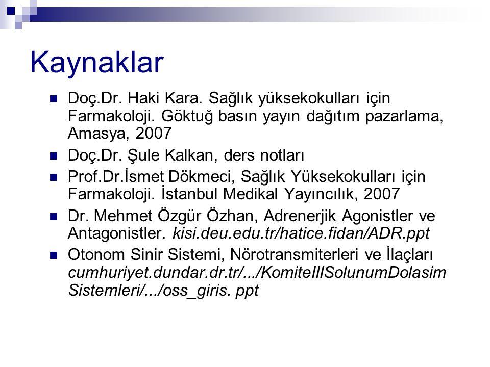 Kaynaklar Doç.Dr. Haki Kara. Sağlık yüksekokulları için Farmakoloji. Göktuğ basın yayın dağıtım pazarlama, Amasya, 2007 Doç.Dr. Şule Kalkan, ders notl