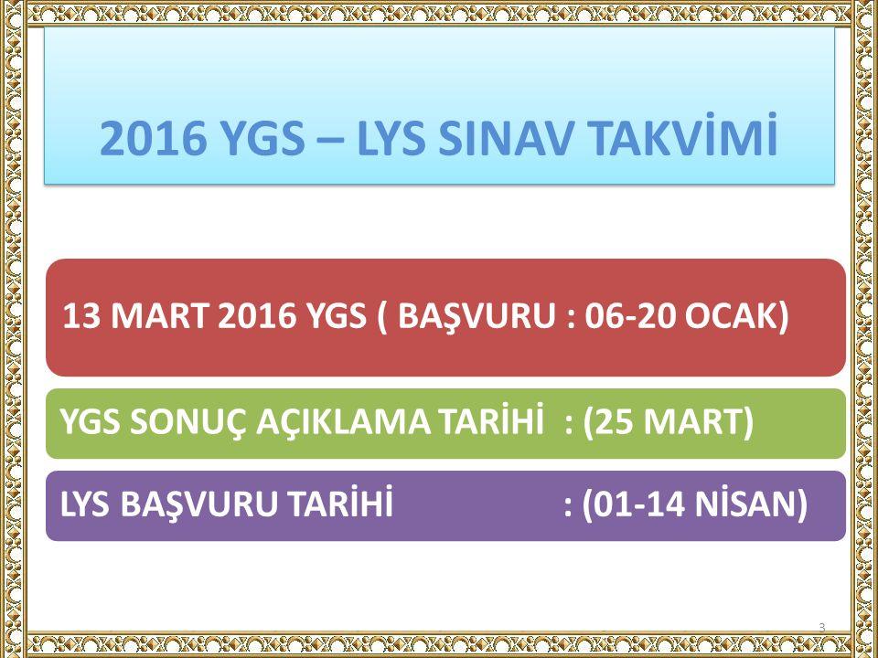 2016 YGS – LYS SINAV TAKVİMİ 13 MART 2016 YGS ( BAŞVURU : 06-20 OCAK) YGS SONUÇ AÇIKLAMA TARİHİ : (25 MART)LYS BAŞVURU TARİHİ : (01-14 NİSAN) 3