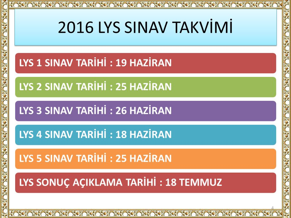 2016 LYS SINAV TAKVİMİ LYS 1 SINAV TARİHİ : 19 HAZİRANLYS 2 SINAV TARİHİ : 25 HAZİRANLYS 3 SINAV TARİHİ : 26 HAZİRANLYS 4 SINAV TARİHİ : 18 HAZİRANLYS 5 SINAV TARİHİ : 25 HAZİRANLYS SONUÇ AÇIKLAMA TARİHİ : 18 TEMMUZ 4