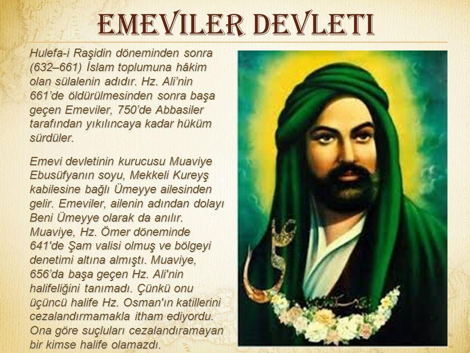 Emeviler Devleti Hulefa-i Raşidin döneminden sonra (632–661) İslam toplumuna hâkim olan sülalenin adıdır.