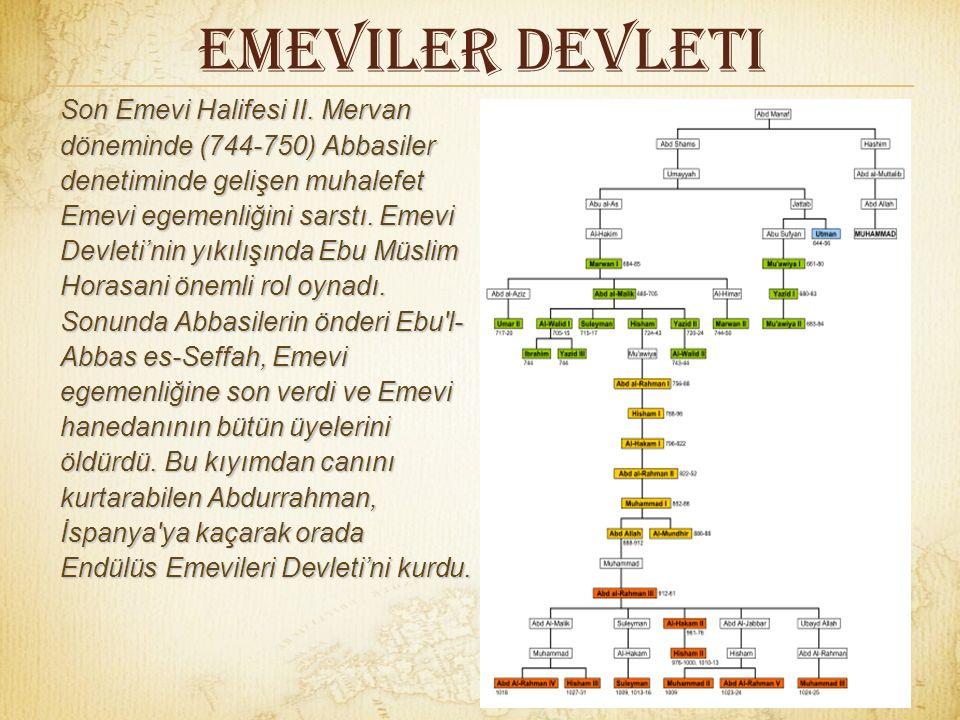 Emeviler Devleti II. Muaviye'den sonra 684'te I. Mervan halife olarak Emevi Devleti'nde Mervaniler dönemini başlattı. Emeviler en parlak dönemini I. M