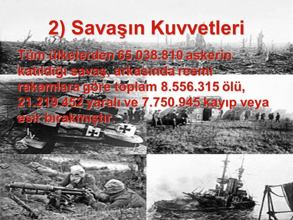 2) Savaşın Kuvvetleri Tüm ülkelerden 65.038.810 askerin katıldığı savaş, arkasında resmi rakamlara göre toplam 8.556.315 ölü, 21.219.452 yaralı ve 7.7