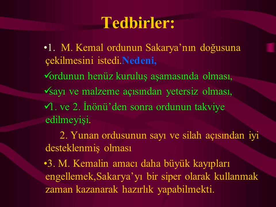 Tedbirler: 1. M. Kemal ordunun Sakarya'nın doğusuna çekilmesini istedi.Nedeni, ordunun henüz kuruluş aşamasında olması, sayı ve malzeme açısından yete