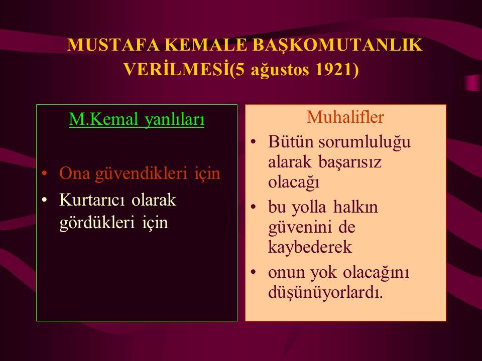 MUSTAFA KEMALE BAŞKOMUTANLIK VERİLMESİ(5 ağustos 1921) M.Kemal yanlıları Ona güvendikleri için Kurtarıcı olarak gördükleri için Muhalifler Bütün sorum