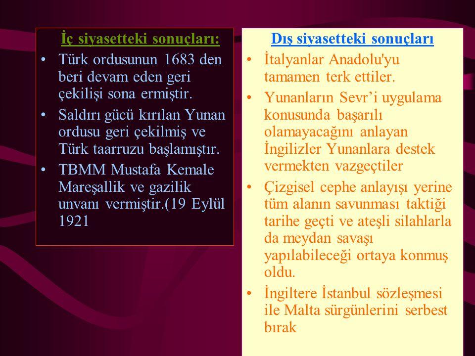İç siyasetteki sonuçları: Türk ordusunun 1683 den beri devam eden geri çekilişi sona ermiştir. Saldırı gücü kırılan Yunan ordusu geri çekilmiş ve Türk