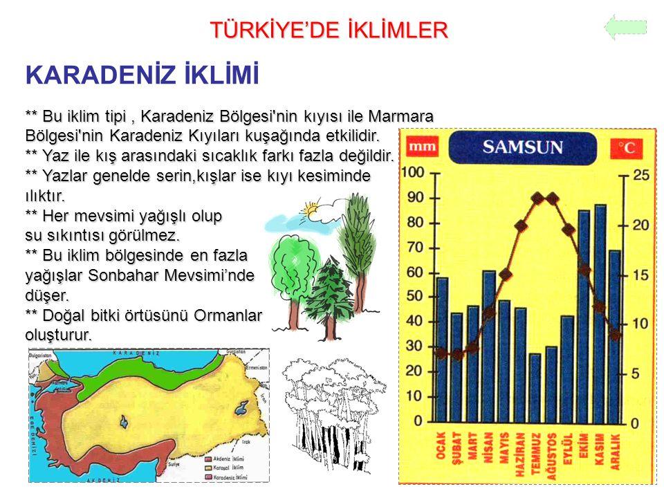 TÜRKİYE'DE İKLİMLER KARADENİZ İKLİMİ ** Bu iklim tipi, Karadeniz Bölgesi'nin kıyısı ile Marmara Bölgesi'nin Karadeniz Kıyıları kuşağında etkilidir. **
