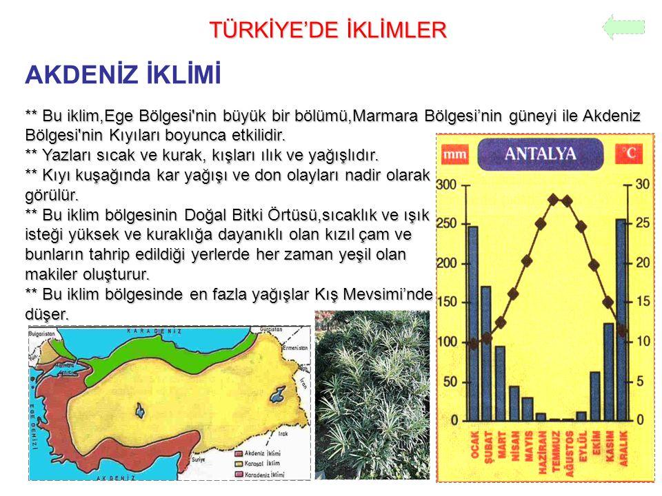 TÜRKİYE'DE İKLİMLER AKDENİZ İKLİMİ ** Bu iklim,Ege Bölgesi'nin büyük bir bölümü,Marmara Bölgesi'nin güneyi ile Akdeniz Bölgesi'nin Kıyıları boyunca et