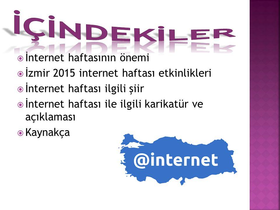  İnternet haftasının önemi  İzmir 2015 internet haftası etkinlikleri  İnternet haftası ilgili şiir  İnternet haftası ile ilgili karikatür ve açıklaması  Kaynakça