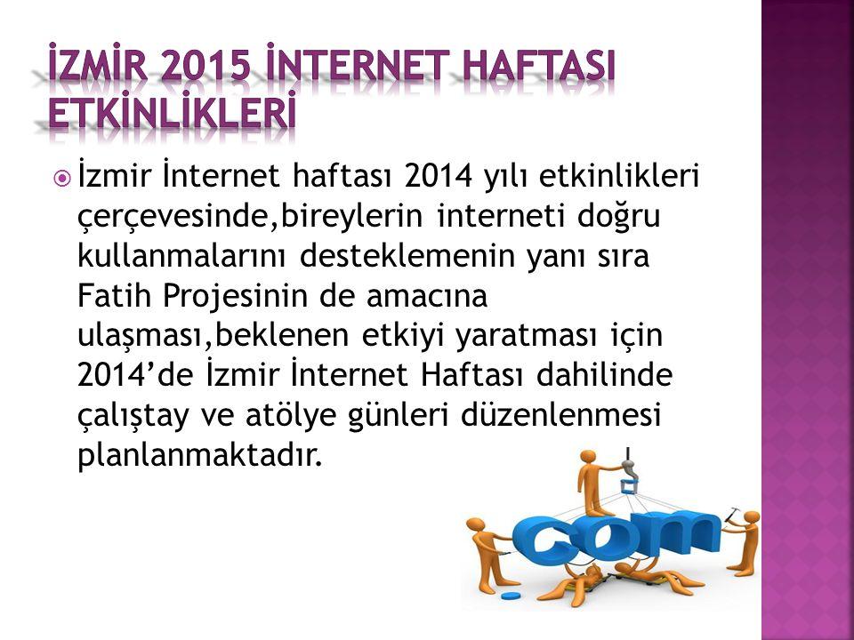  İzmir İnternet haftası 2014 yılı etkinlikleri çerçevesinde,bireylerin interneti doğru kullanmalarını desteklemenin yanı sıra Fatih Projesinin de amacına ulaşması,beklenen etkiyi yaratması için 2014'de İzmir İnternet Haftası dahilinde çalıştay ve atölye günleri düzenlenmesi planlanmaktadır.