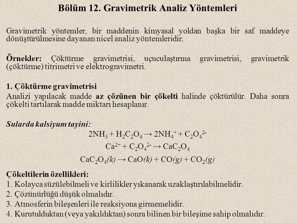 Bölüm 12. Gravimetrik Analiz Yöntemleri Gravimetrik yöntemler, bir maddenin kimyasal yoldan başka bir saf maddeye dönüştürülmesine dayanan nicel anali