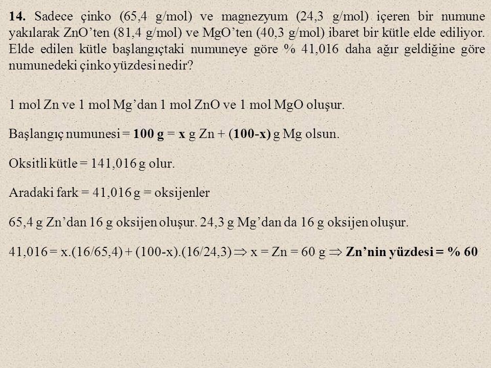 14. Sadece çinko (65,4 g/mol) ve magnezyum (24,3 g/mol) içeren bir numune yakılarak ZnO'ten (81,4 g/mol) ve MgO'ten (40,3 g/mol) ibaret bir kütle elde
