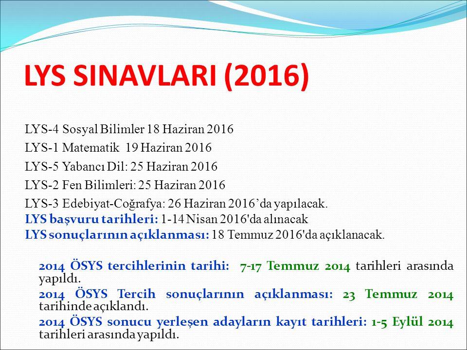 LYS SINAVLARI (2016) LYS-4 Sosyal Bilimler 18 Haziran 2016 LYS-1 Matematik 19 Haziran 2016 LYS-5 Yabancı Dil: 25 Haziran 2016 LYS-2 Fen Bilimleri: 25