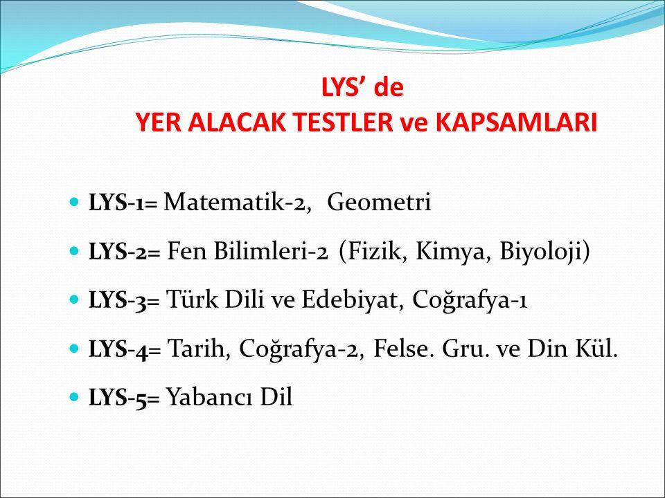 LYS' de YER ALACAK TESTLER ve KAPSAMLARI LYS-1= Matematik-2, Geometri LYS-2= Fen Bilimleri-2 (Fizik, Kimya, Biyoloji) LYS-3= Türk Dili ve Edebiyat, Co
