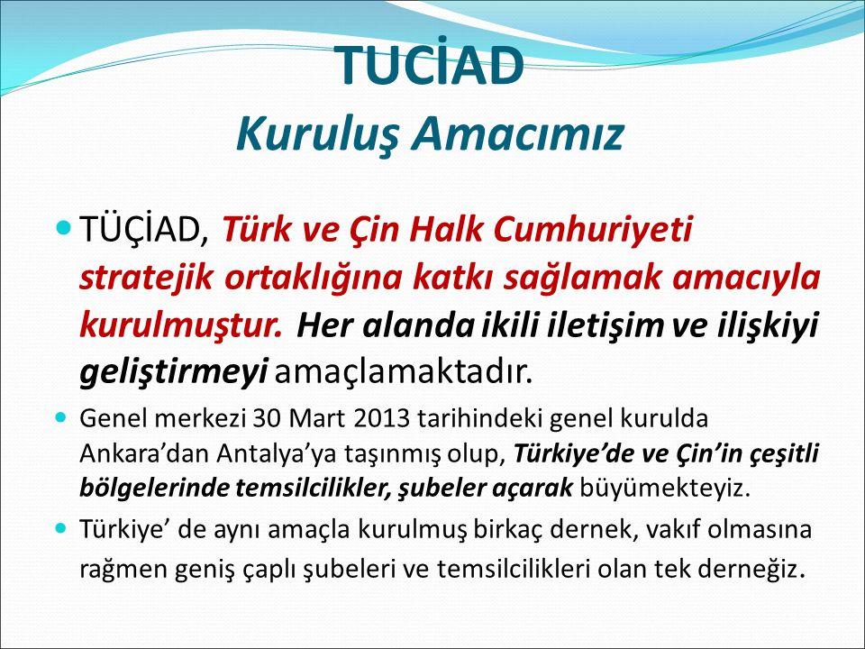 TUCİAD Kuruluş Amacımız TÜÇİAD, Türk ve Çin Halk Cumhuriyeti stratejik ortaklığına katkı sağlamak amacıyla kurulmuştur.