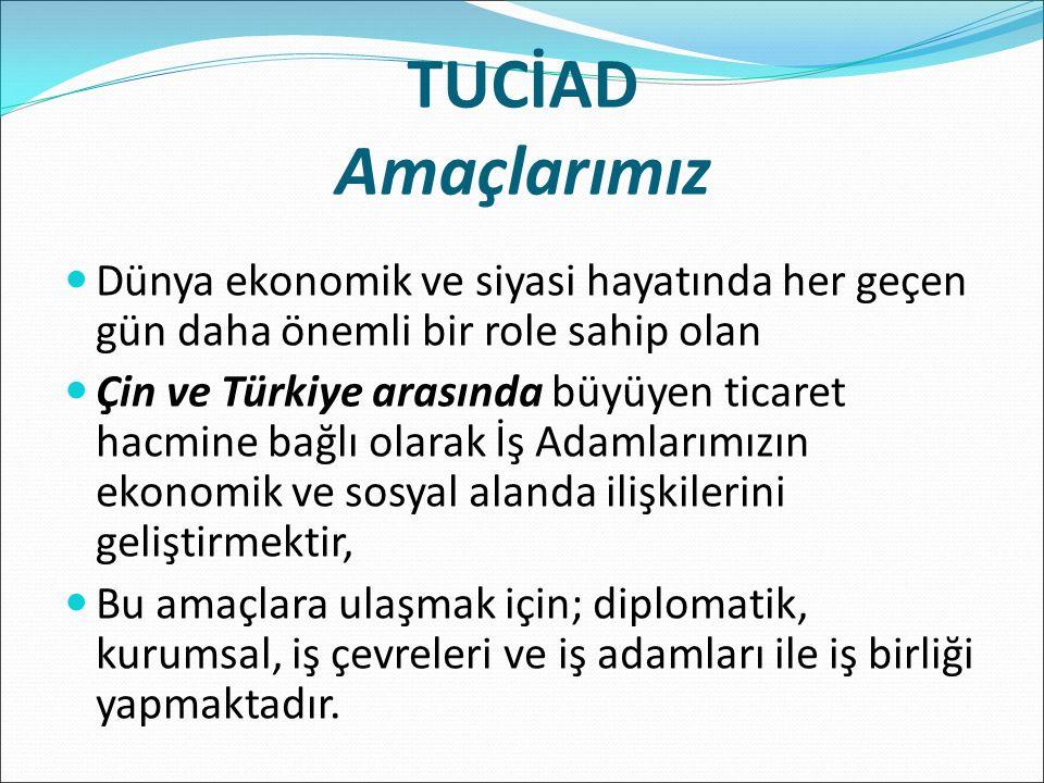 TUCİAD Amaçlarımız Dünya ekonomik ve siyasi hayatında her geçen gün daha önemli bir role sahip olan Çin ve Türkiye arasında büyüyen ticaret hacmine bağlı olarak İş Adamlarımızın ekonomik ve sosyal alanda ilişkilerini geliştirmektir, Bu amaçlara ulaşmak için; diplomatik, kurumsal, iş çevreleri ve iş adamları ile iş birliği yapmaktadır.