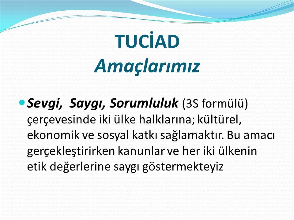 TUCİAD Amaçlarımız Sevgi, Saygı, Sorumluluk (3S formülü) çerçevesinde iki ülke halklarına; kültürel, ekonomik ve sosyal katkı sağlamaktır.