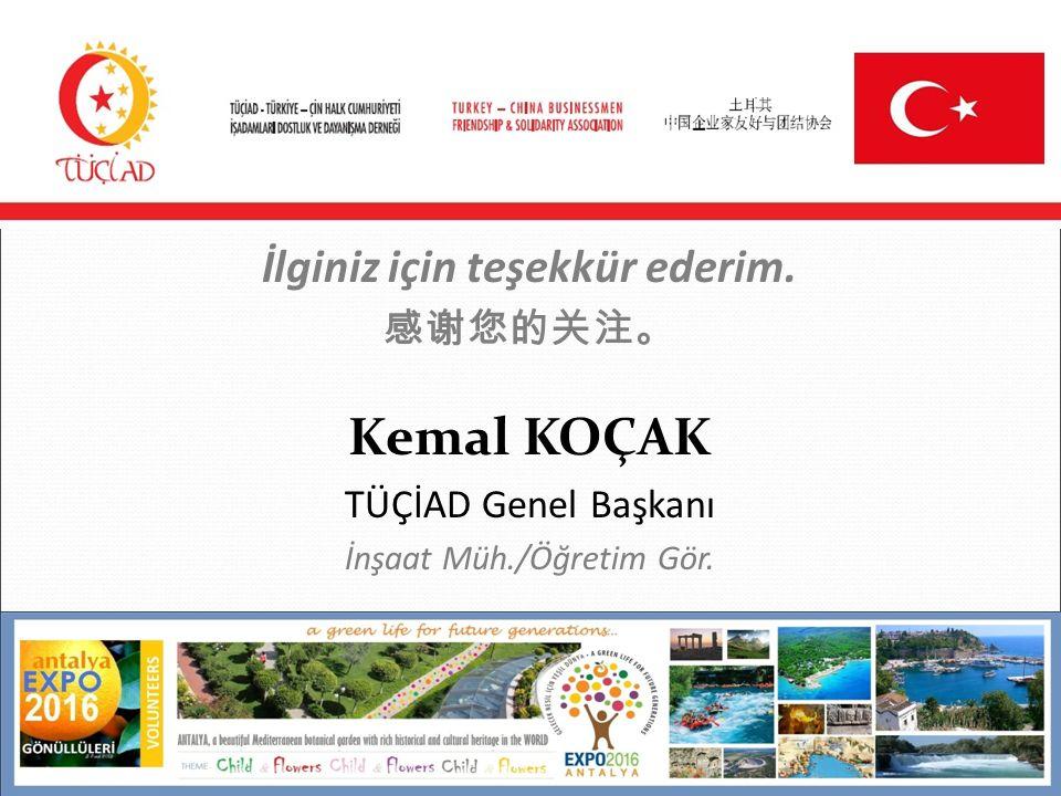 İlginiz için teşekkür ederim. 感谢您的关注。 Kemal KOÇAK TÜÇİAD Genel Başkanı İnşaat Müh./Öğretim Gör.
