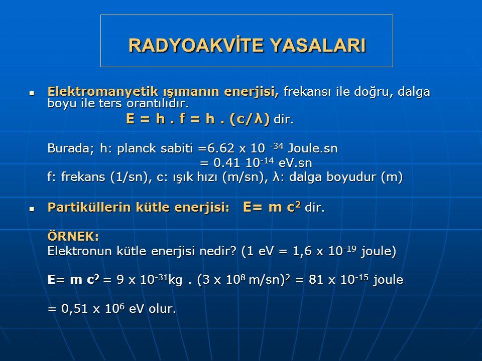 RADYOAKVİTE YASALARI Elektromanyetik ışımanın enerjisi, frekansı ile doğru, dalga boyu ile ters orantılıdır. Elektromanyetik ışımanın enerjisi, frekan