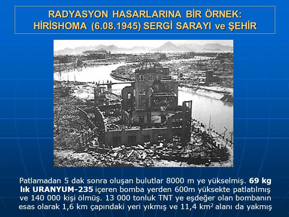 RADYASYON HASARLARINA BİR ÖRNEK: HİRİSHOMA (6.08.1945) SERGİ SARAYI ve ŞEHİR Patlamadan 5 dak sonra oluşan bulutlar 8000 m ye yükselmiş. 69 kg lık URA