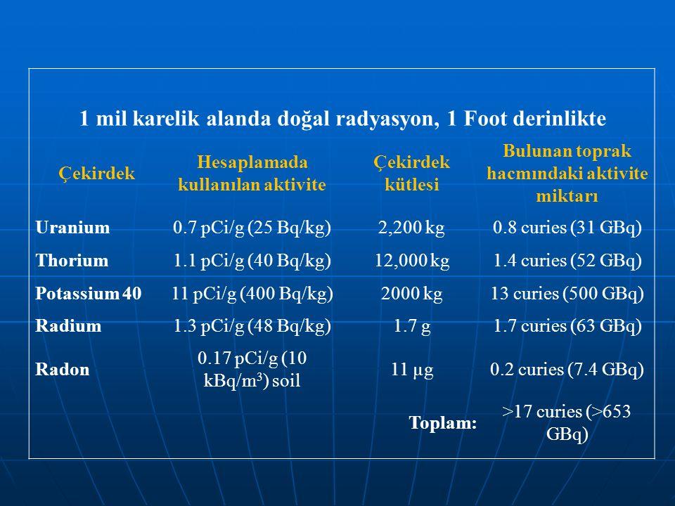 1 mil karelik alanda doğal radyasyon, 1 Foot derinlikte Çekirdek Hesaplamada kullanılan aktivite Çekirdek kütlesi Bulunan toprak hacmındaki aktivite m