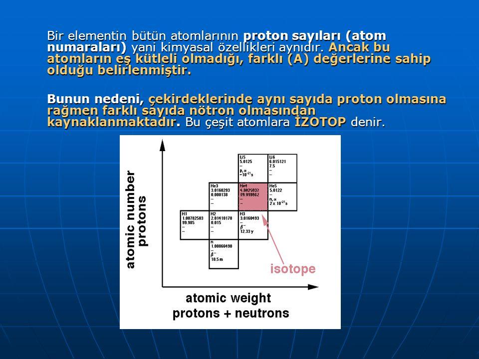 Bir elementin bütün atomlarının proton sayıları (atom numaraları) yani kimyasal özellikleri aynıdır. Ancak bu atomların eş kütleli olmadığı, farklı (A