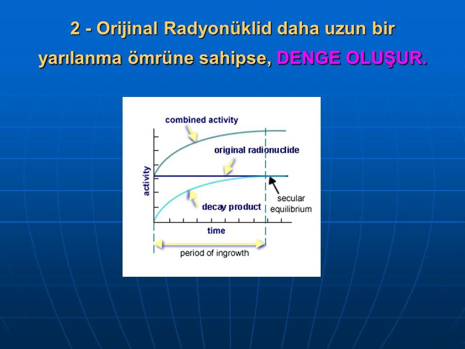 2 - Orijinal Radyonüklid daha uzun bir yarılanma ömrüne sahipse, DENGE OLUŞUR.