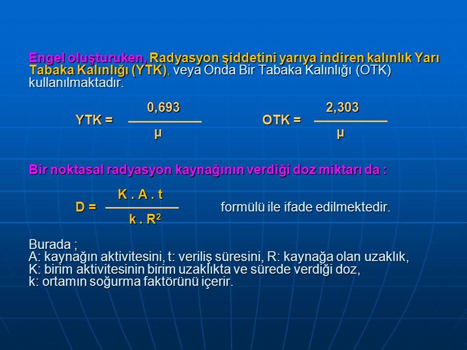 Engel oluşturuken, Radyasyon şiddetini yarıya indiren kalınlık Yarı Tabaka Kalınlığı (YTK), veya Onda Bir Tabaka Kalınlığı (OTK) kullanılmaktadır. 0,6
