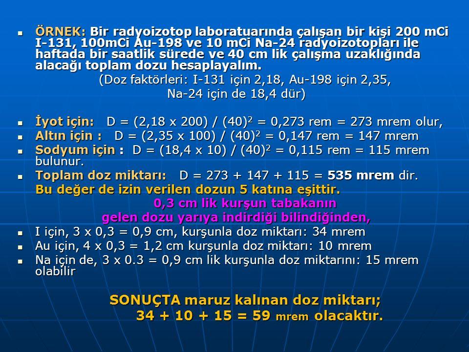 ÖRNEK: Bir radyoizotop laboratuarında çalışan bir kişi 200 mCi I-131, 100mCi Au-198 ve 10 mCi Na-24 radyoizotopları ile haftada bir saatlik sürede ve