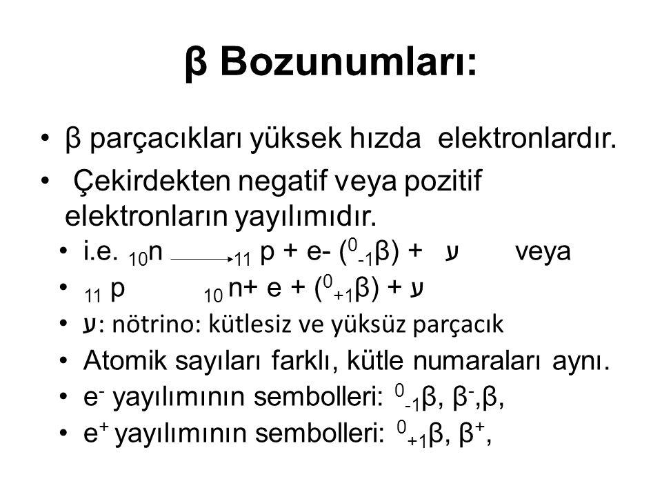 β - bozunumu: Doğada ve yapay radyoaktivitede görülür.