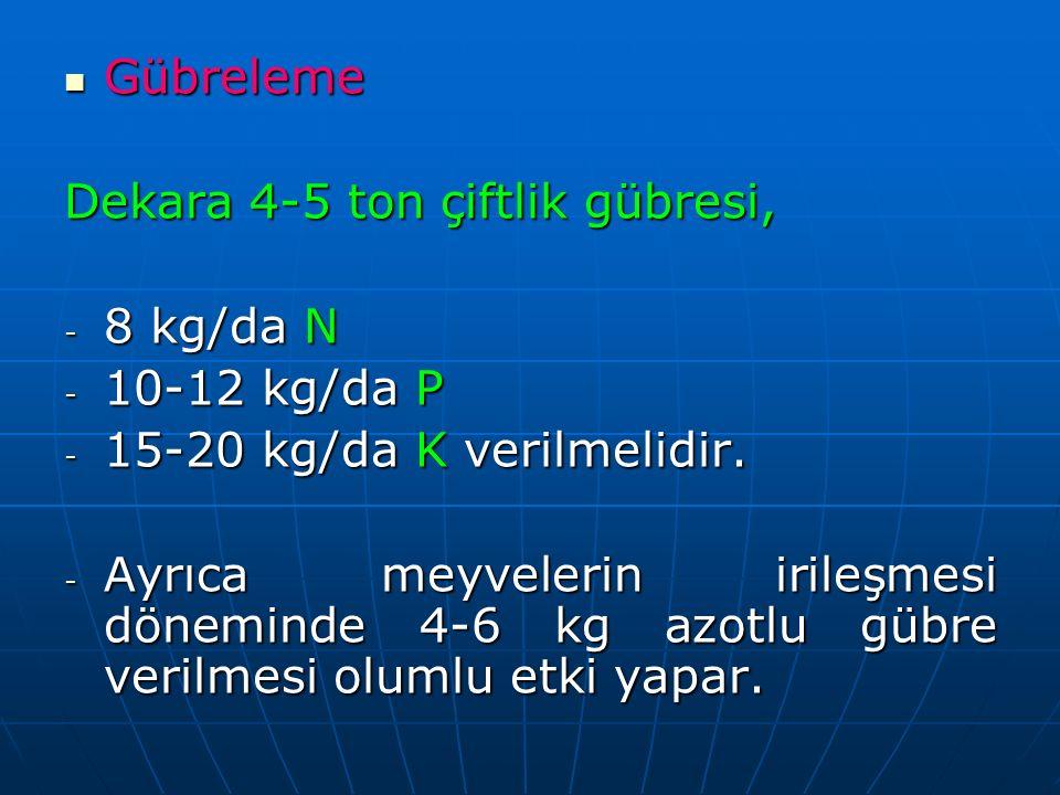 Gübreleme Gübreleme Dekara 4-5 ton çiftlik gübresi, - 8 kg/da N - 10-12 kg/da P - 15-20 kg/da K verilmelidir.