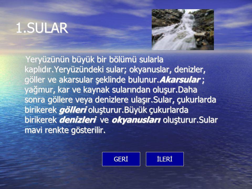 1.SULAR Yeryüzünün büyük bir bölümü sularla kaplıdır.Yeryüzündeki sular; okyanuslar, denizler, göller ve akarsular şeklinde bulunur.Akarsular ; yağmur